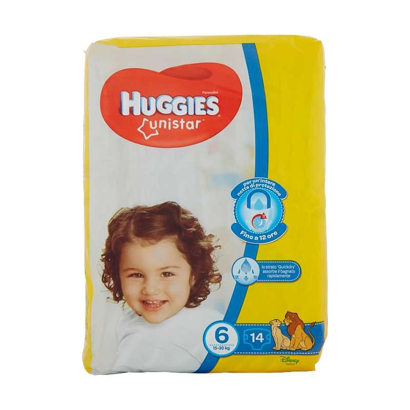 HUGGIES - Unistar Baby Diapers Size 6 Extralarge 15-30 kg 14 Diapers