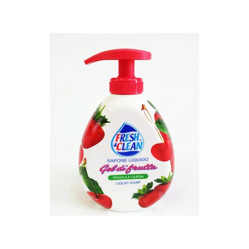 FRESH & CLEAN - Soap Liquid Gel Fruit Strawberry And Cherry 300 Ml