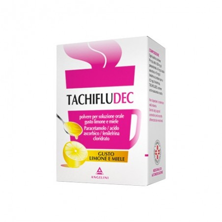 Angelini - Tachifludec - analgetic antipyretic - 16 lemon & honey flavour bags