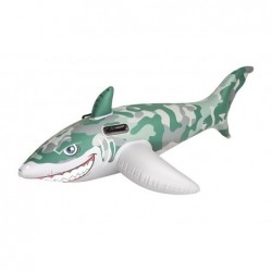Army Shark Inflatable Rider Toy - Green/White