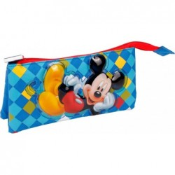 Boys Pencil Case Bag 2 zip 3 compartments Mickey Mouse
