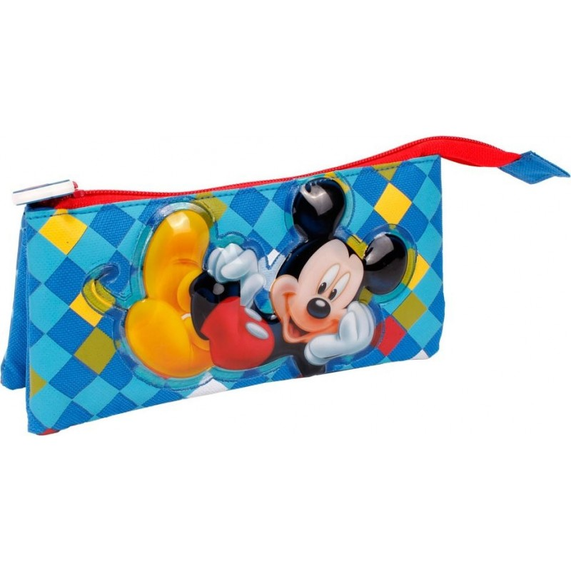 DISNEY - Boys Pencil Case Bag 2 zip 3 compartments Mickey Mouse