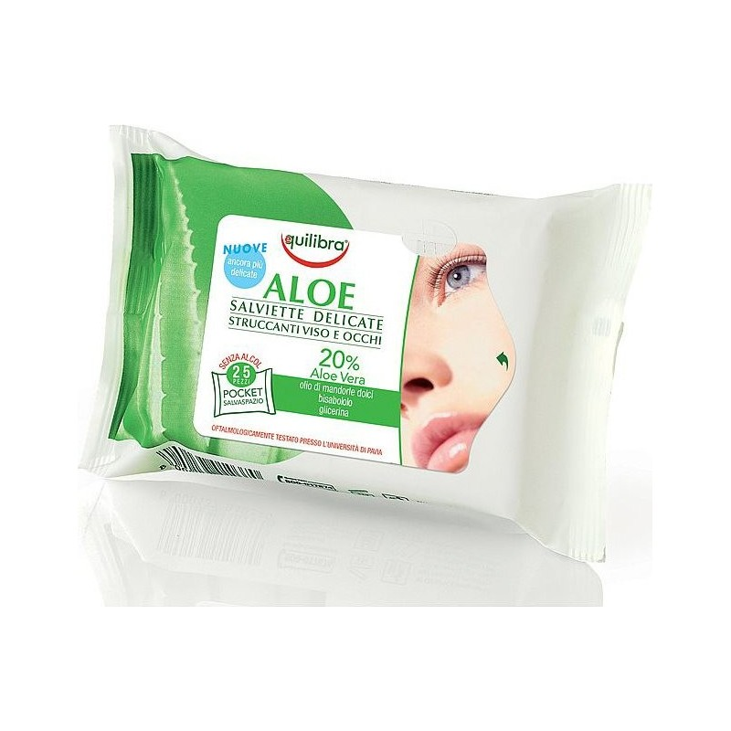EQUILIBRA - Delicate Cleansing Wipes For Face Pack Aloe 25 Pieces