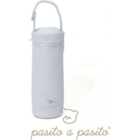 PASITO A PASITO - Baby Bottle Holder in Faux Leather Blue