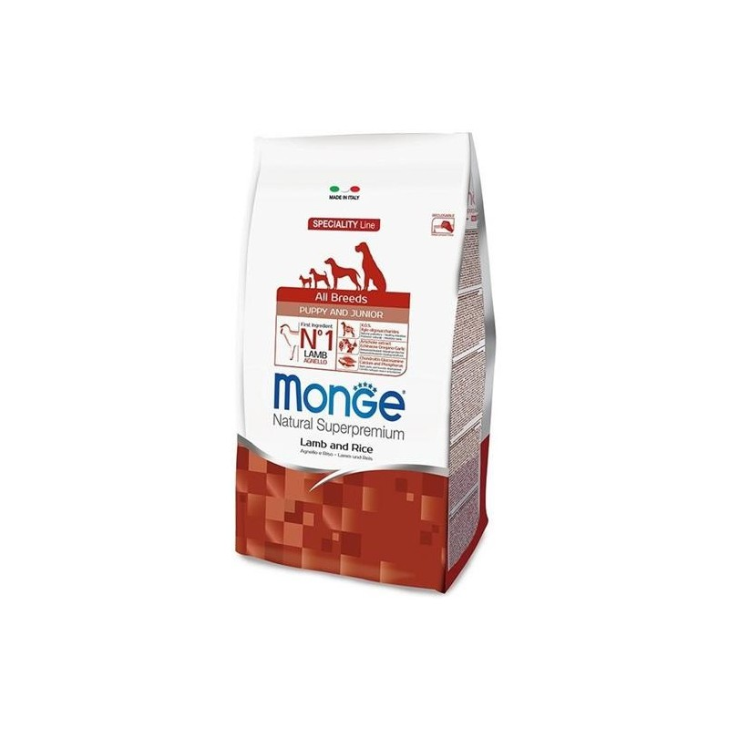MONGE - all breeds puppy and junior - dry dog food - lamb and rice - 2.5 kg